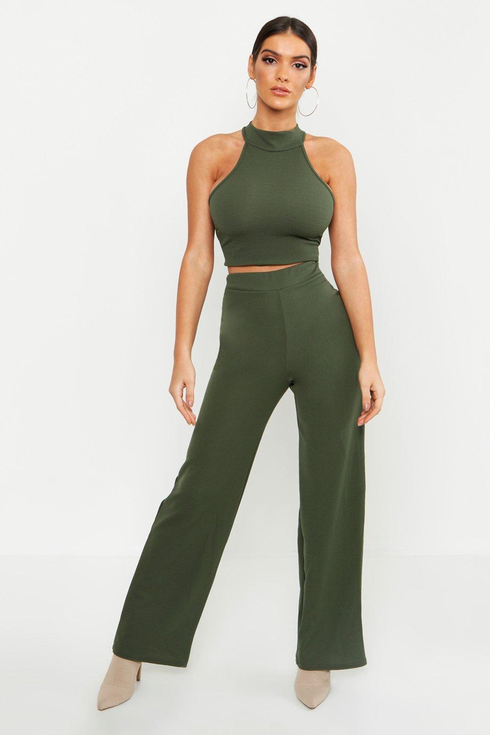 Купить Co-ordinates, High Neck Top + Wide Leg Trousers Co-Ord, boohoo