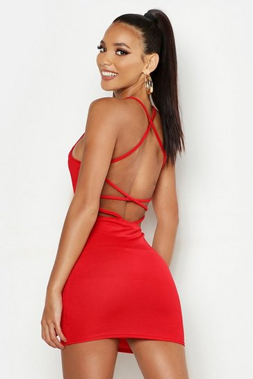 Red Cross Strappy Back Bodycon Dress