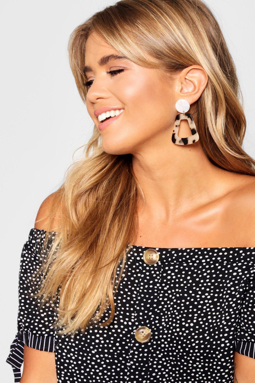 boohoo Womens Tortoiseshell Drop Resin Earrings - Brown - One Size, Brown