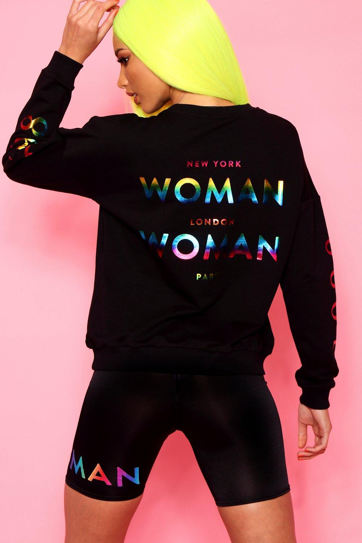 Womens Woman Rainbow Slogan Foil Print Oversized Sweat - black - 32, Black - Boohoo.com