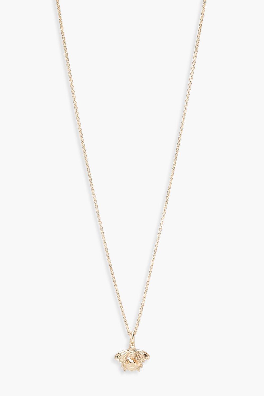 boohoo Womens Bee Charm Necklace - Metallics - One Size, Metallics