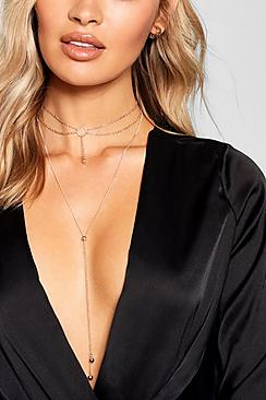 Choker & Plunge Chain Necklace