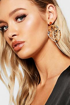 Abstract Face Tortoiseshell Statement Earrings