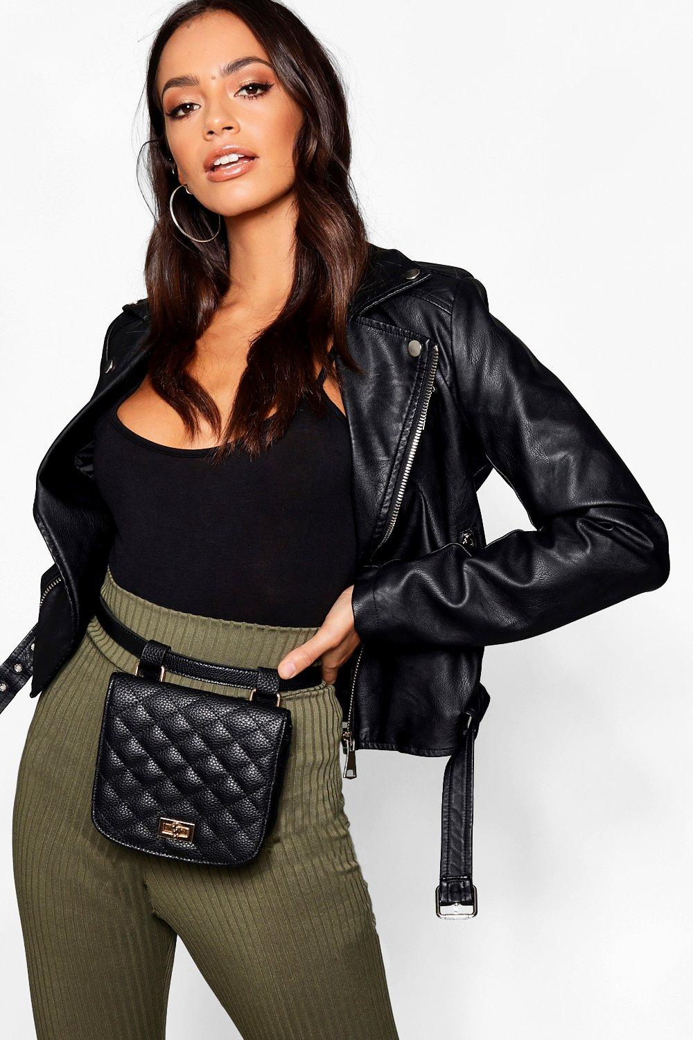 boohoo Womens Quilted Belt Bag - Black - One Size, Black