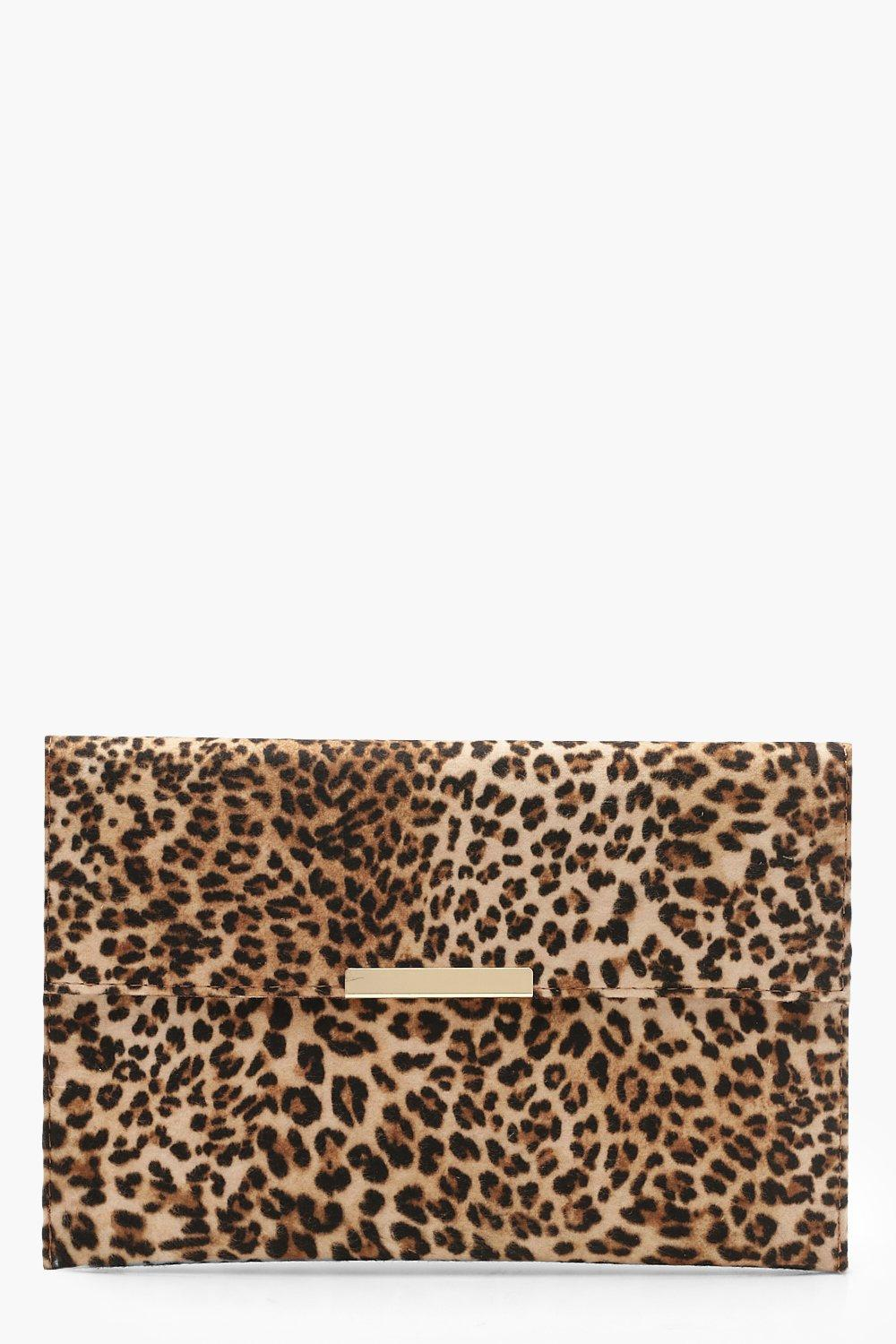 boohoo Womens Leopard Envelope Clutch Bag - Beige - One Size, Beige