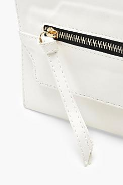 Contrast Zip Clutch