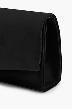 Structured Suedette Clutch With Chain