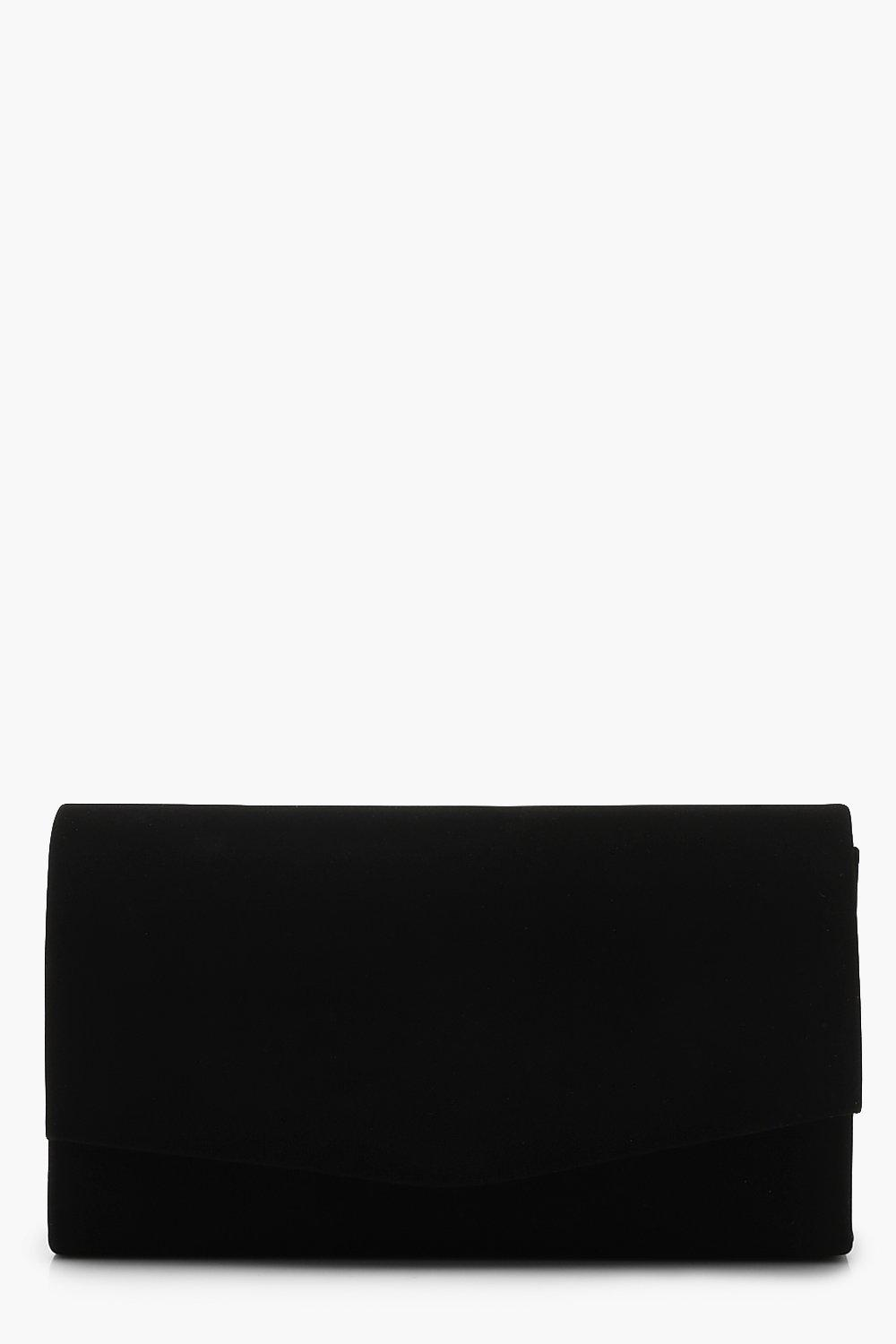 boohoo Womens Structured Suedette Clutch Bag & Chain - Black - One Size, Black