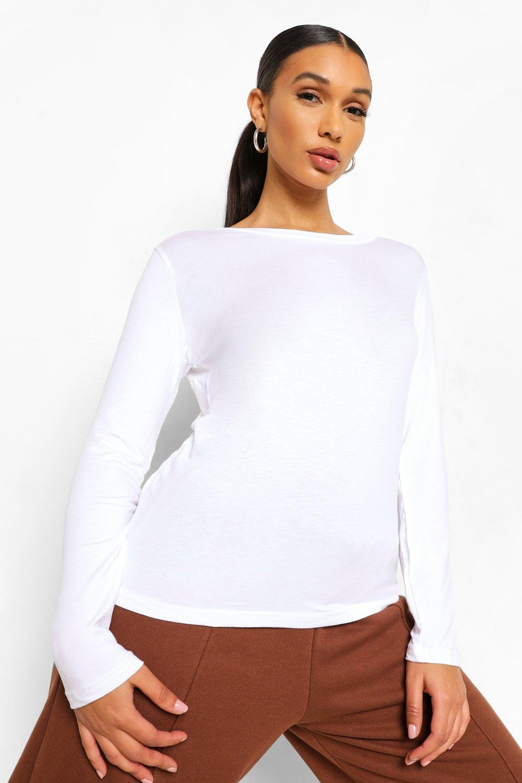 Womens Basic Long Sleeve Crew Neck T-Shirt - white - 36, White - Boohoo.com
