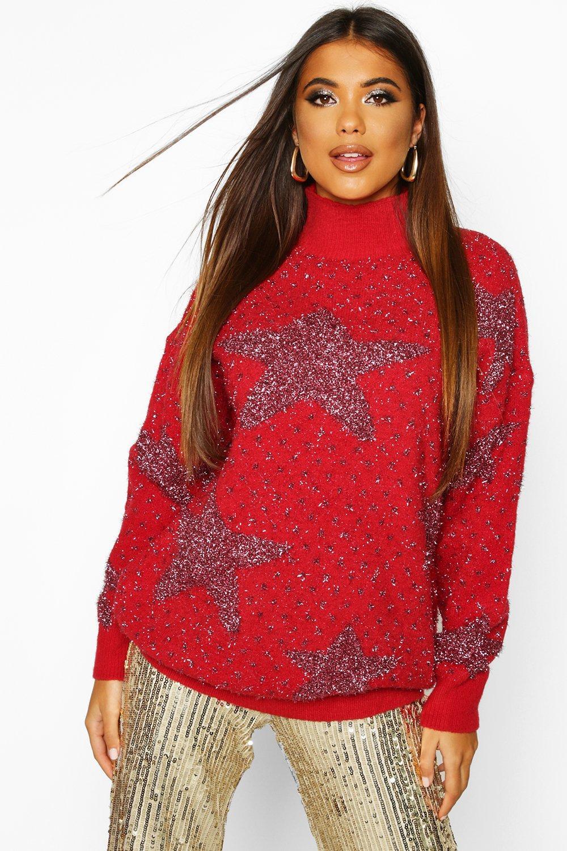 Womens Premium Pullover mit Lametta - rot - L, Rot - Boohoo.com