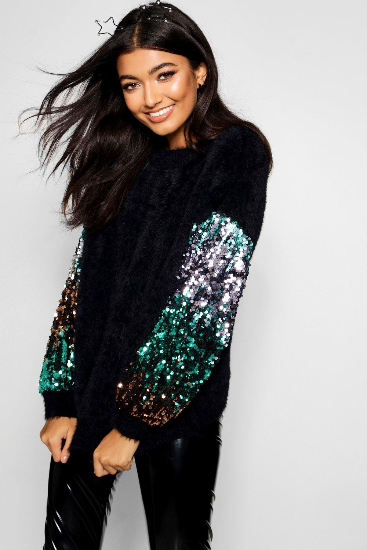 Womens Premium Embellished Tinsel Jumper - black - S, Black - Boohoo.com