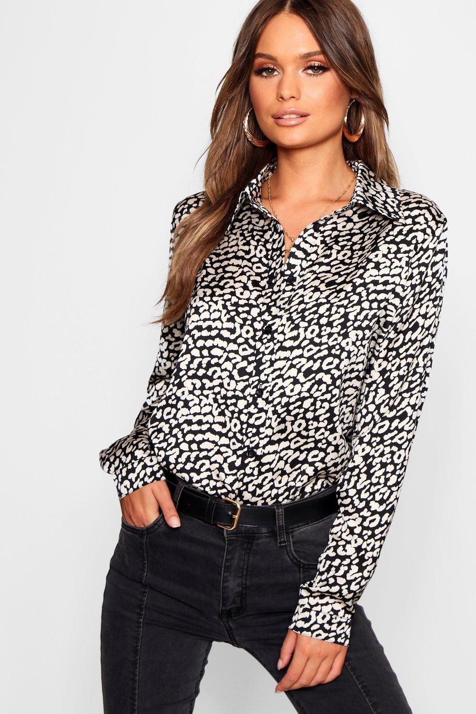Womens Oversized Hemd aus Webstoff mit Leopardenmuster - schwarz - 38, Schwarz - Boohoo.com