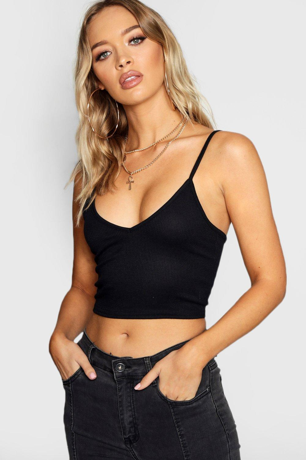 Womens Basic Ribbed Bralet - Black