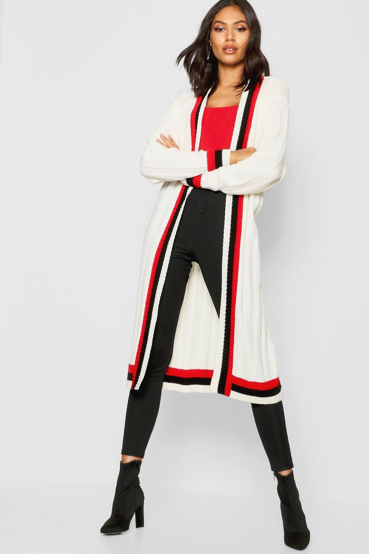 Купить Cardigans, Спортивный макси кардиган с поясом в полоску, boohoo
