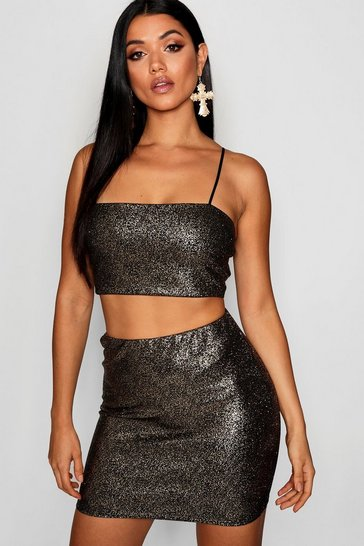 Gold Sparkle Crop Top And Mini Skirt