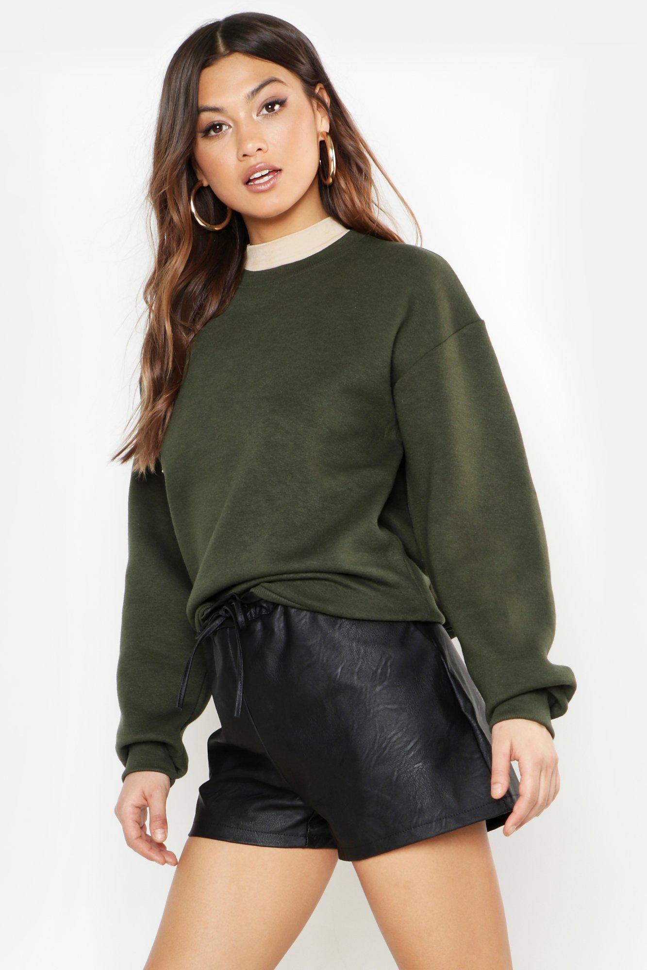 Womens Übergroßes Sweatshirt - khaki - 32, Khaki - Boohoo.com