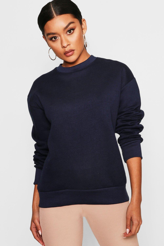 Womens Übergroßes Sweatshirt - navy - 40, Navy - Boohoo.com