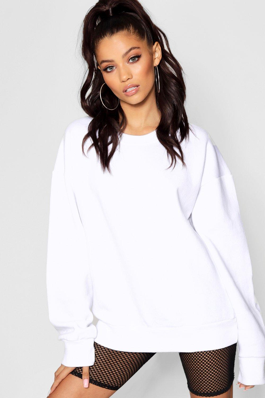 Womens Übergroßes Sweatshirt - Weiß - 34, Weiß - Boohoo.com