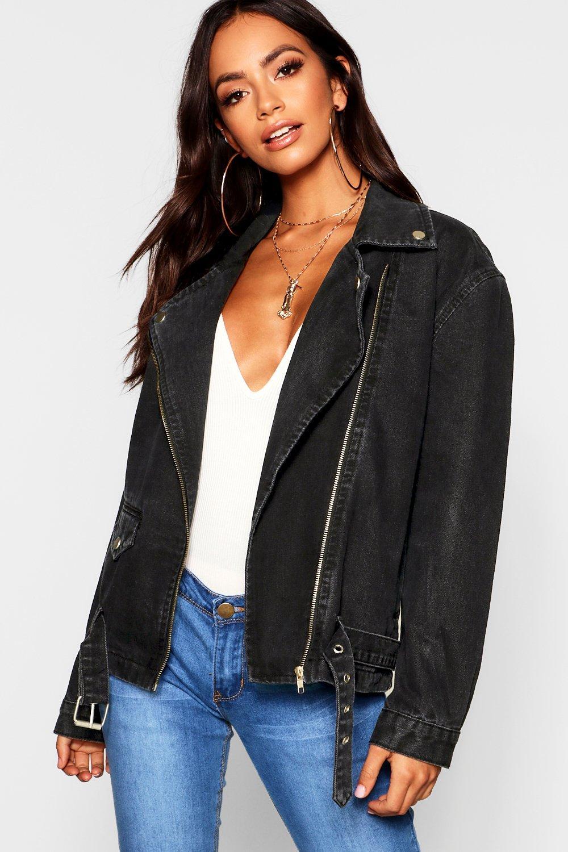 Купить Coats & Jackets, Байкерская куртка из денима свободного кроя, boohoo