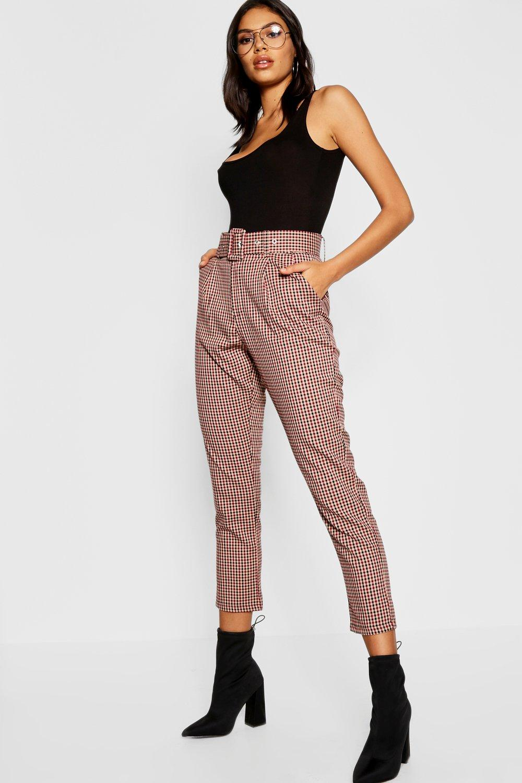 Купить Trousers, Зауженные брюки с поясом в клетку, boohoo