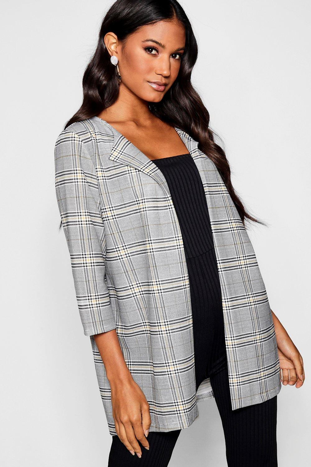 boohoo Womens Checked Edge To Edge Jacket - Grey - 8, Grey