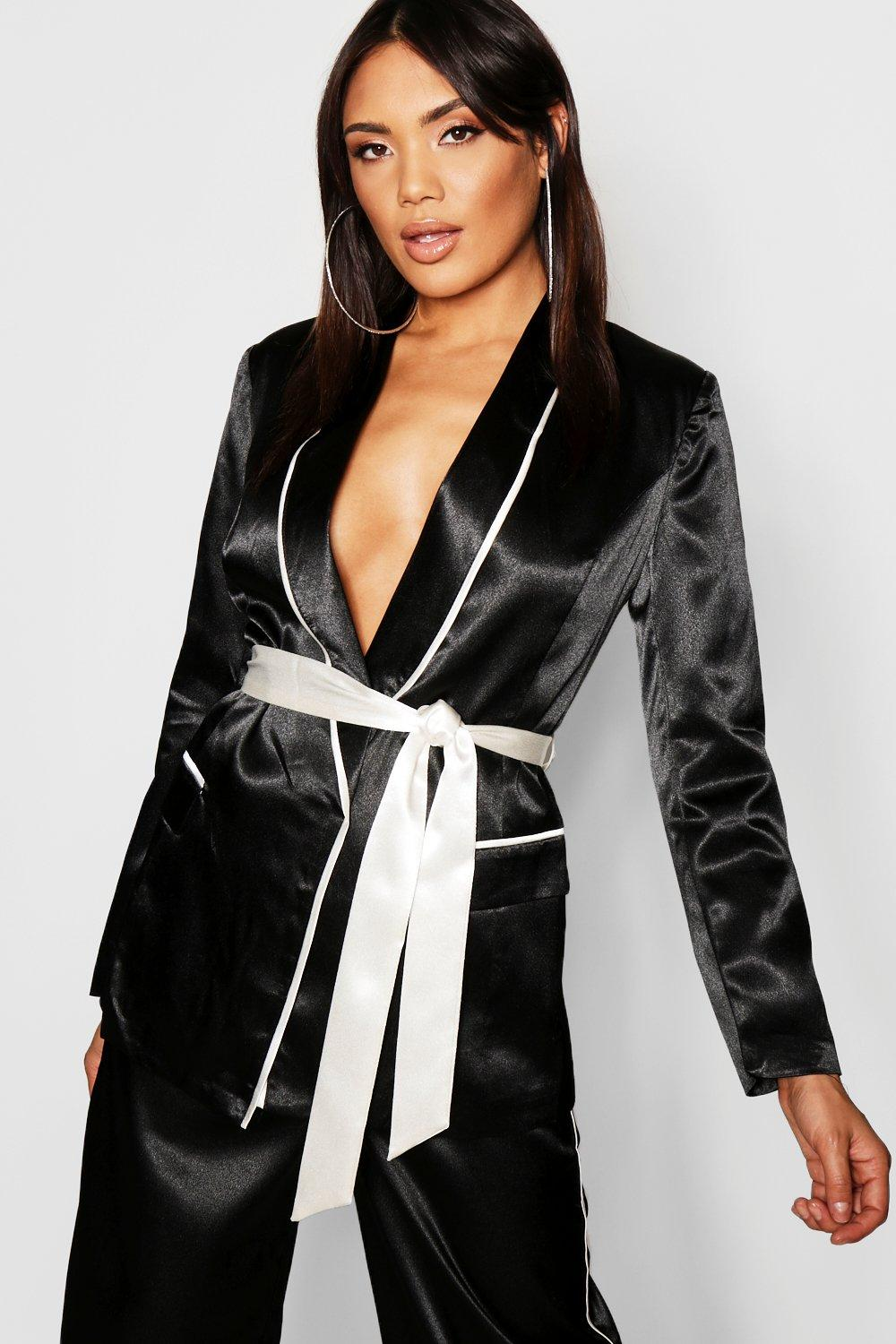 Купить Coats & Jackets, Satin Contrast Piping & Belt Blazer, boohoo