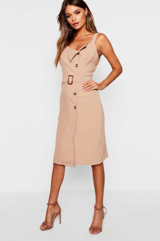 Купить Dresses, Платье Pinny с поясом на роговых пуговицах, boohoo