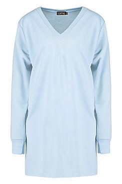 Co-Ordinate Printed V-Neck Sweatshirt Dress