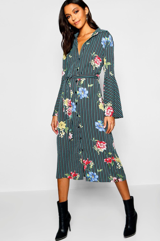 Dresses, Платье-рубашка с гофрированными рукавами в полоску с цветочным рисунком по щиколотку, boohoo  - купить со скидкой