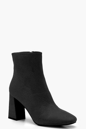 Black Square Toe Block Heel Shoe Boots
