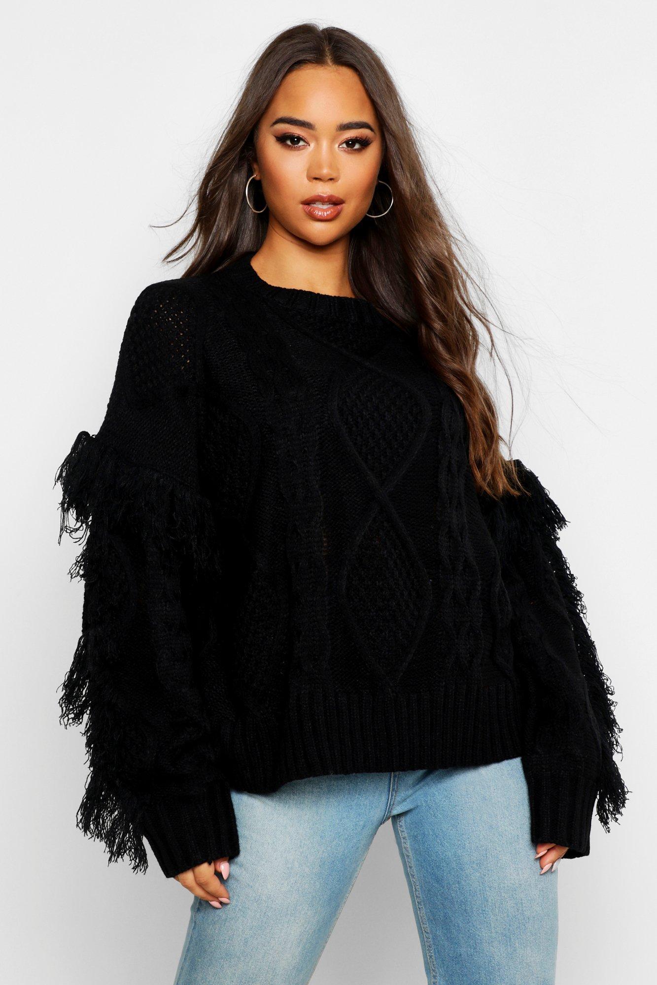 Womens gestrickter Pullover mit Zopfmuster - schwarz - S, Schwarz - Boohoo.com