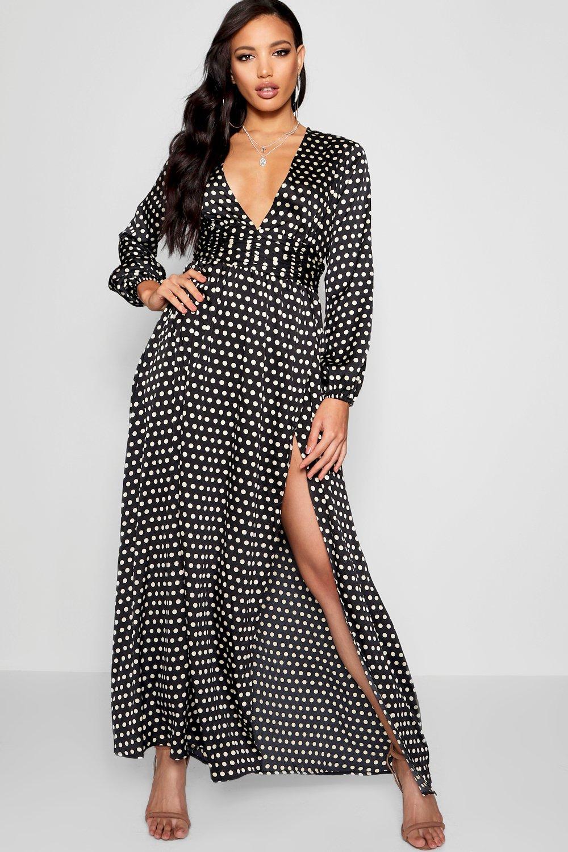 Купить Dresses, Макси-платье в горошек с глубоким вырезом, boohoo