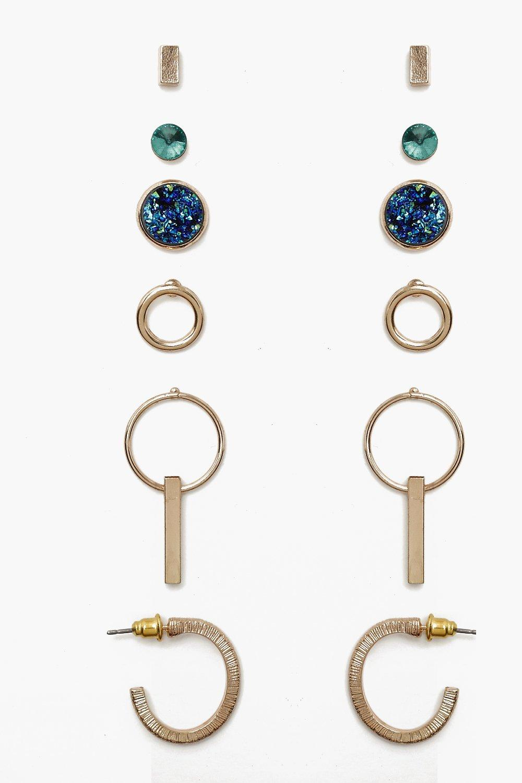 boohoo Womens Mixed Stone & Hoop Earring Pack - Multi - One Size, Multi