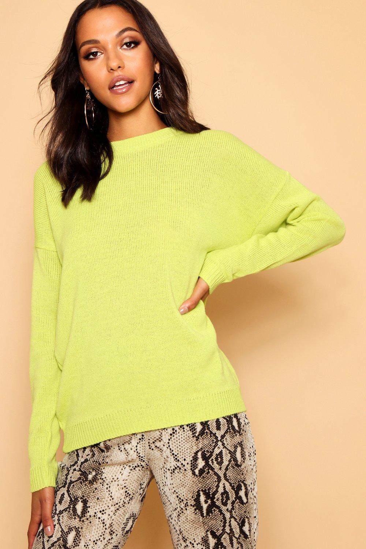 Womens Boxy Pullover mit Rundhalsausschnitt - Limettengrün - S, Limettengrün - Boohoo.com