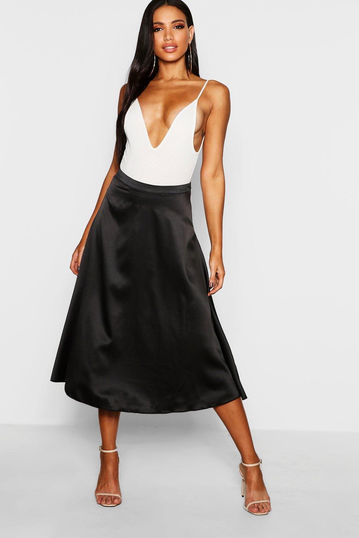 Купить Skirts, Атласная юбка солнце-клеш средней длины, boohoo