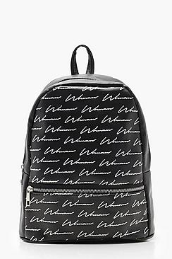 All Over Woman Script Print Rucksack
