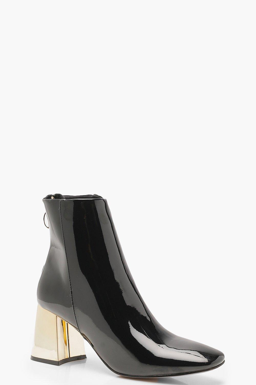 Купить Boots, Сапоги из лакированной обуви на каблуках золото, boohoo