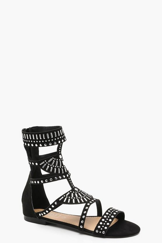 Embellished Stud Gladiator Sandals