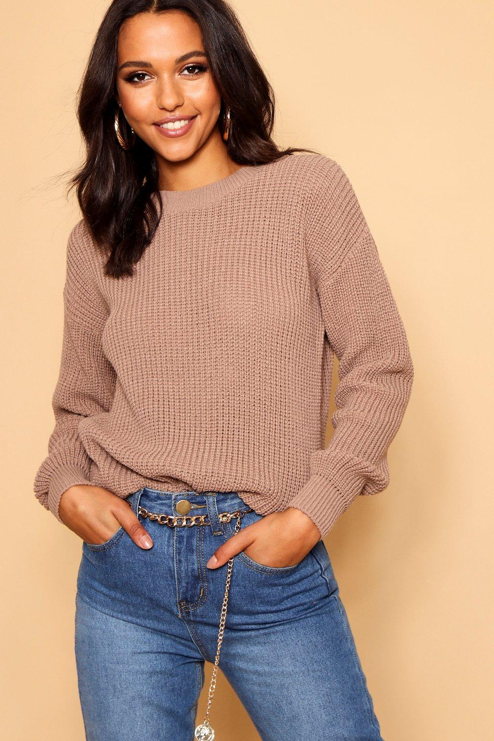 Womens Oversized-Pullover - Taupe - S, Taupe - Boohoo.com
