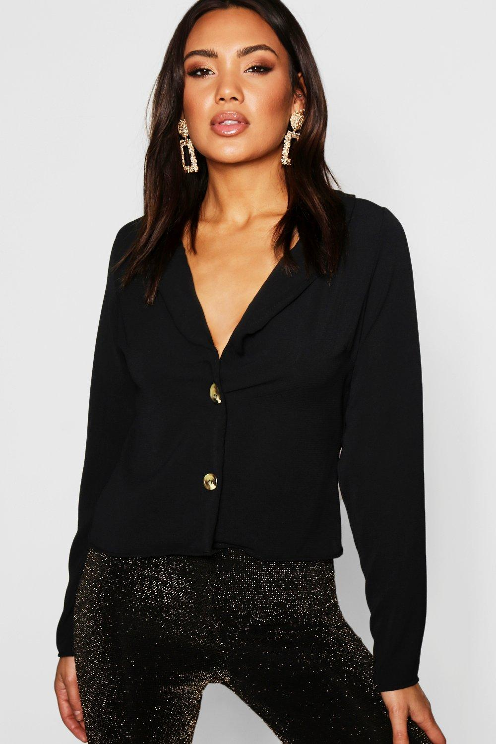 Womens Lapel Horn Button Blouse - black - 34, Black - Boohoo.com