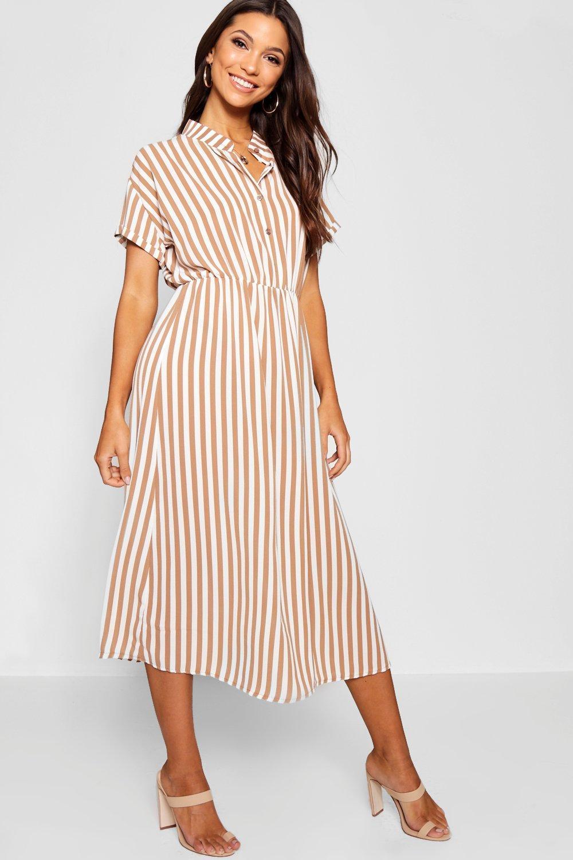 Купить Dresses, Платье-рубашка средней длины в полоску, boohoo
