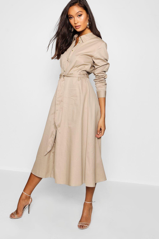 Купить Dresses, Практичное платье-рубашка средней длины с поясом, boohoo
