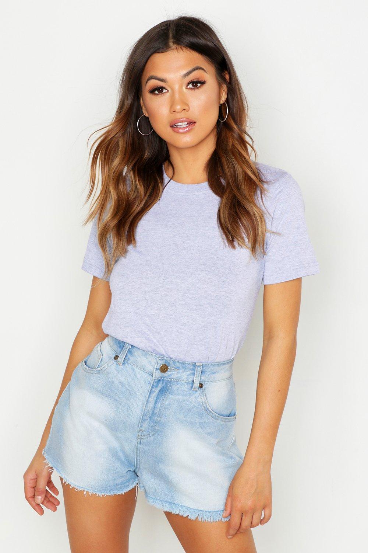 Womens Basic-T-Shirt mit Rundhalsausschnitt - Grau meliert - 36, Grau Meliert - Boohoo.com
