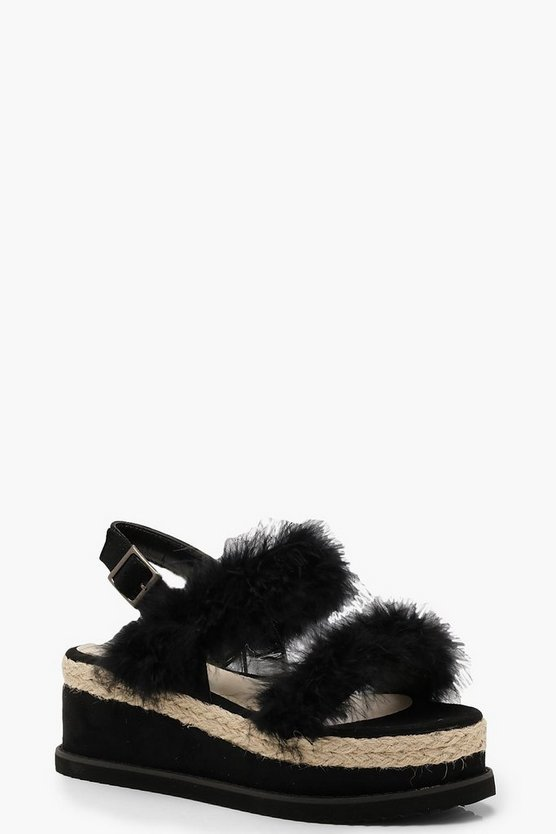 Faux Fur Two Strap Flatforms