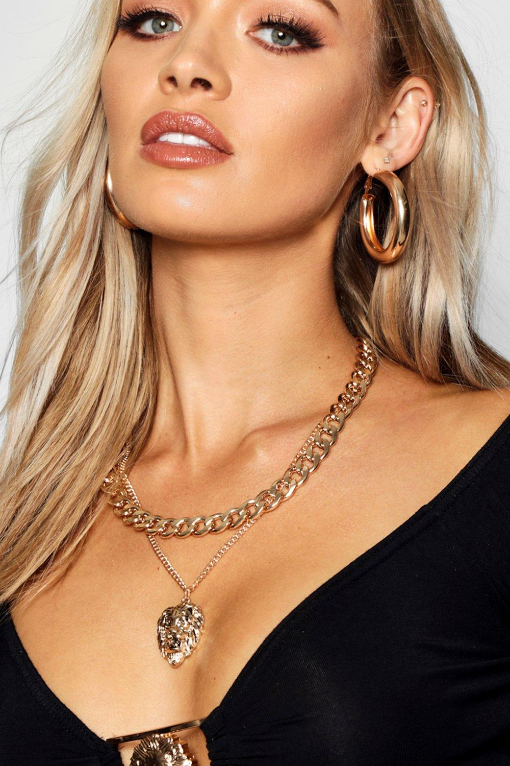 boohoo Womens Chunky Chain & Lion Layered Necklace - Metallics - One Size, Metallics