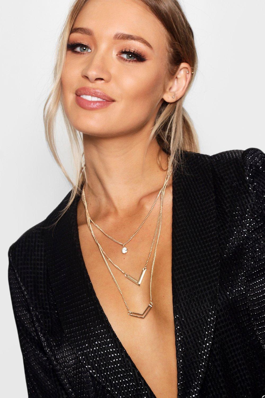 boohoo Womens Double Arrow Layered Necklace - Metallics - One Size, Metallics