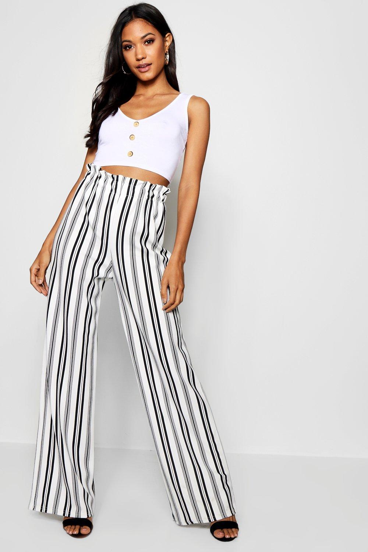 Купить Trousers, Широкие брюки с напуском из крепа в полоску, boohoo