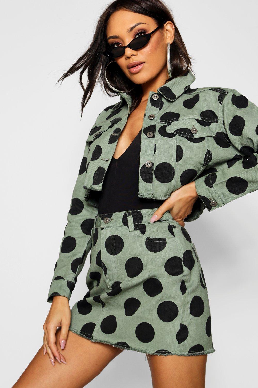 Купить Coats & Jackets, Зеленая джинсовая куртка в горошек, boohoo