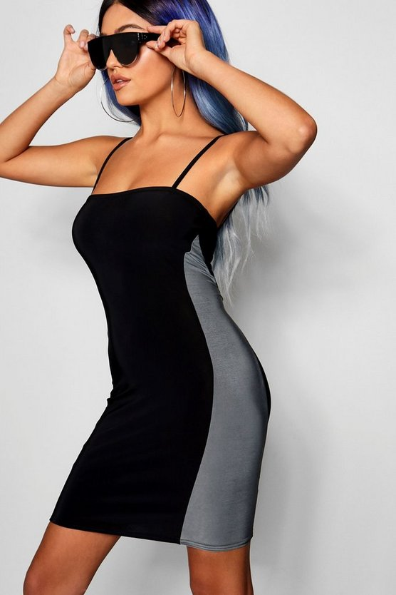Sqaure Neck Panelled Bodycon Mini Dress