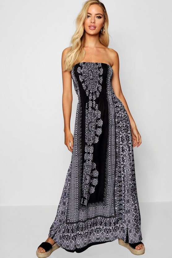 Bandeau Boarder Print Maxi Dress